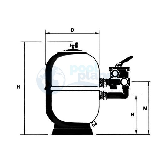 Фильтр Astralpool Aster с боковым многопозиционным вентилем. Диаметр 650 мм