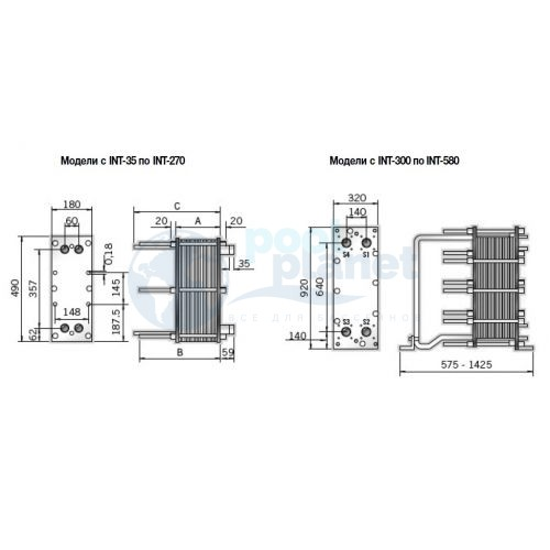 Оборудованный пластинчатый теплообменник ETNA-400 вода/вода из стали AISI-316, 400000 Ккал/ч
