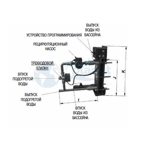 Оборудованный пластинчатый теплообменник вода/вода из титана Astralpool Etna-15 мощностью 15000 Ккал/ч + рециркуляционный насос