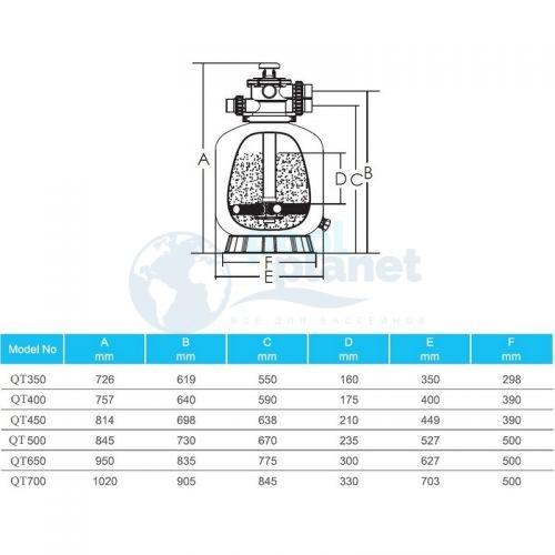 Фильтр с верхним клапаном AquaViva QT400, 400 мм, 6,48 м3/ч