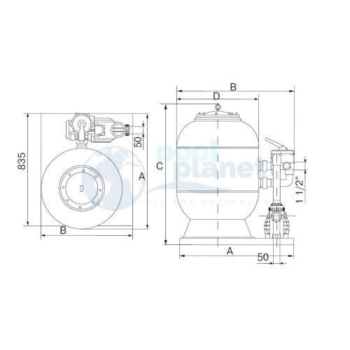 Фильтровальная установка (моноблок) Behncke Cristall D900 (900 мм, 32 м3/ч), боковое подсоединение