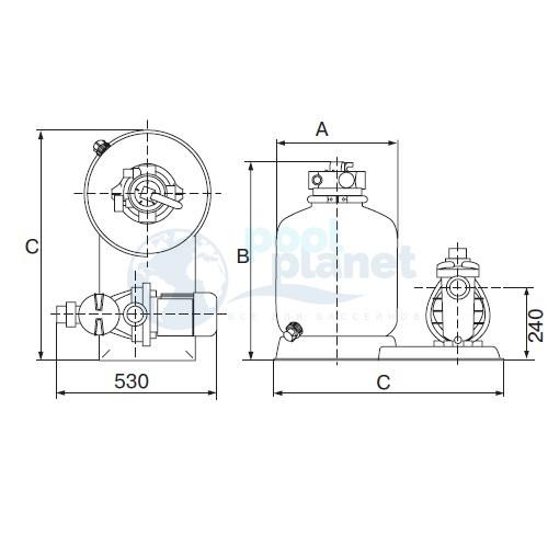 Фильтровальная установка (500 мм) (верхнее подсоед.) Emaux FSP500-4W (Opus)