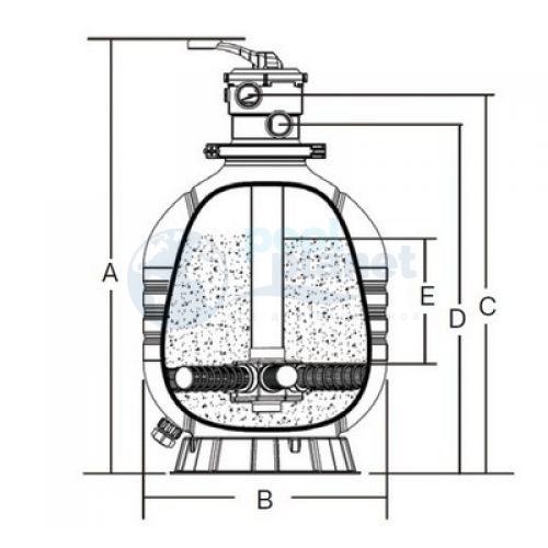 """Фильтр д900 мм (верхнее подсоединение ) Emaux MFV35 (Opus) (с 6-ти поз. вентилем 2"""")"""