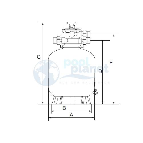 Фильтр Emaux P350 (4,32 м³/час, D=350 мм, 20 кг, верхнее подключение)