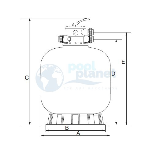 Фильтр Emaux V350 (4,32 м³/час, 355 мм, 20 кг, верхнее подключение)