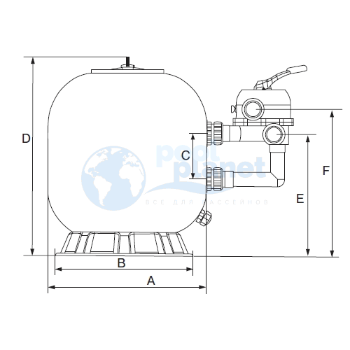 "Фильтр Emaux S700 (B) (Opus) (с 6-ти поз. вентилем 2"")"