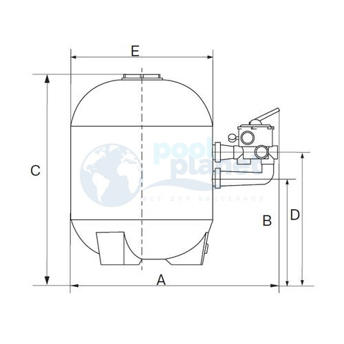 Фильтр (900 мм с подсоединениями) (боковое подсоед.) Kripsol Balear BL 900
