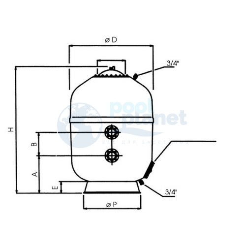 Ламинированные фильтры AstralPool Europe (фильтрующий слой 1 м), Диаметр 2500 мм, патрубок 160 мм