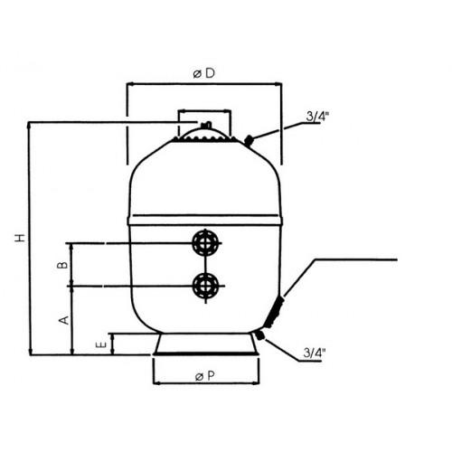 Фильтры Astralpool Europe (фильтрующий слой 1,2 м). Диаметр 1400 мм, патрубок 75 мм