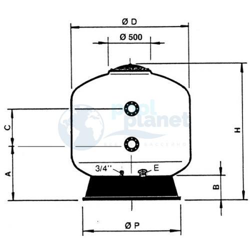 Фильтры Astralpool Praga (фильтрующий слой 1 м, Макс раб. давл. 2,5кг/см² ). Диаметр 2000 мм, патрубок 125 мм