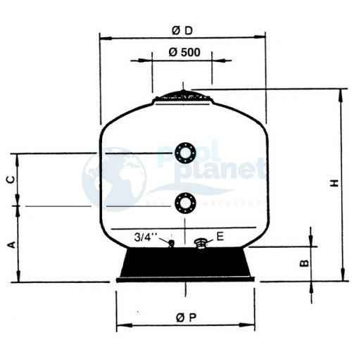 Фильтры Astralpool Praga (фильтрующий слой 1 м, Макс раб. давл. 4 кг/см² ). Крышка 400 мм. Диаметр 1050 мм, патрубок 63 мм