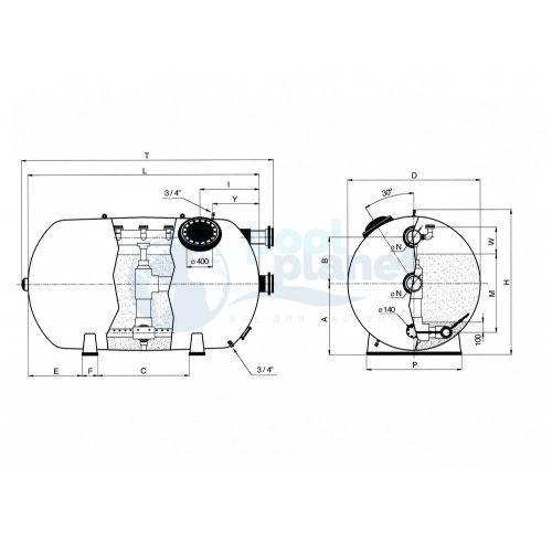 Фильтры Astralpool Rodas диаметром 1050 (Макс раб. давл. 4 кг/см², фильтрующий слой 0,6 м). Длина 1900 мм, патрубок 75 мм