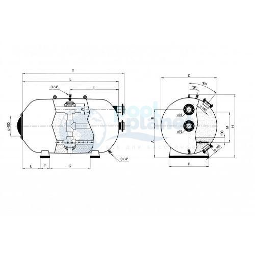 Фильтры Astralpool Rodas диаметром 1200 (Макс раб. давл. 2,5 кг/см², фильтрующий слой 0,6 м). Длина 2300 мм, патрубок 110мм