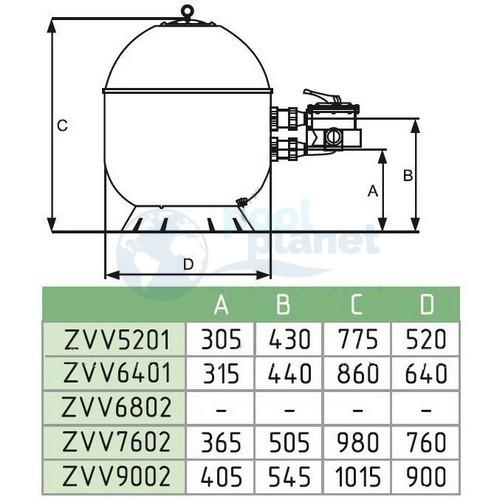Фильтровальная установка Fiberpool Vaso ZVV-TR100, 14 м3/ч, 640 мм (боковое подключение) / ZVVTR640-100