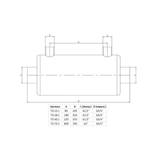 Теплообменник Xenozone 40 кВт (горизонтальный) /ТО.40.1/