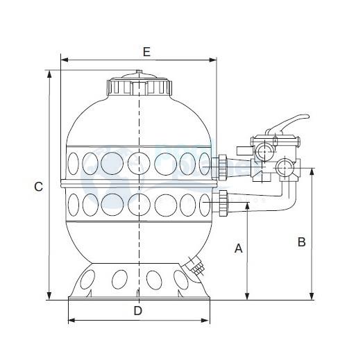 Фильтр (600 мм, 14.5 м3/ч) (боковое подсоед.) Kripsol Granada GLO606-100