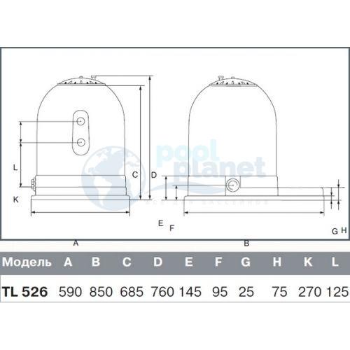 Фильтр (520 мм, 10 м3/ч) (боковое подсоед.) Kripsol Toledo TLО526-71
