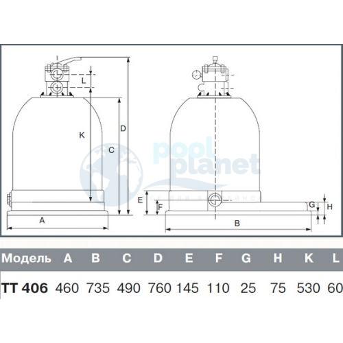 Фильтр (400 мм, 6 м3/ч) (верхнее подсоед.) Kripsol Toledo TTO406-33