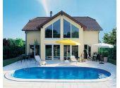 Сборный бассейн MTH Sunny Pool овальной формы MTH Sunny Pool 10,3 м х 5,0 м, глубиной 1,2 метра со стенками из высококачественной стали толщиной 0,8 мм