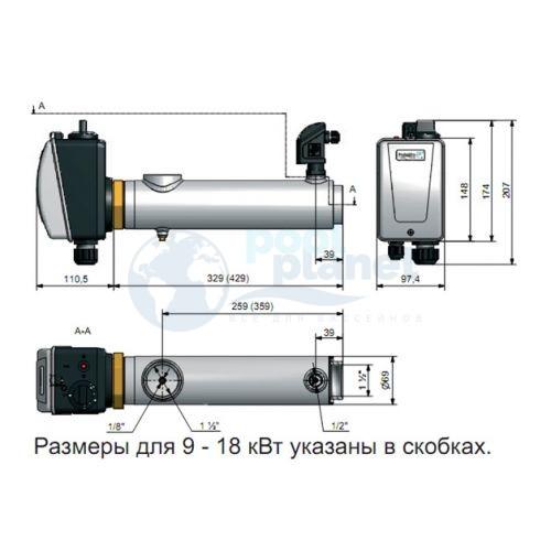 Электронагреватель Pahlen титановый 15 кВт, датчик потока, термостат 0-45С, защ. от перегрева (13981415T)