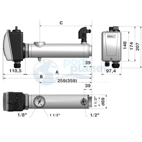 Электронагреватель Pahlen ( 3 кВт) с датчиком потока (132111 / 13981403)