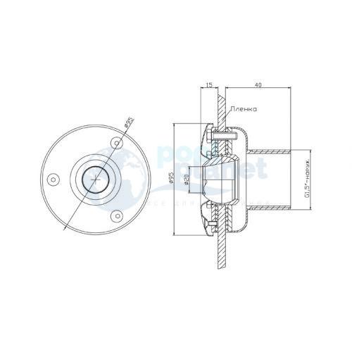 """Форсунка стеновая (плёнка) G1½"""" (наружн.) нержавеющая сталь AISI-304 /ФП.091.6/"""