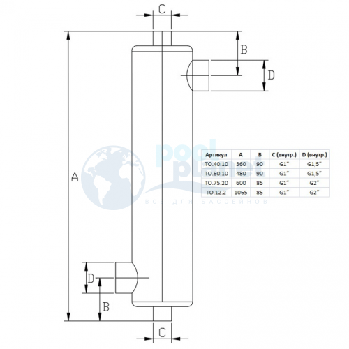 Теплообменник Xenozone 40 кВт (вертикальный) /ТО.40.10/